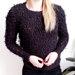 Free People NWT Black Chunky Teddy Bear Sweater